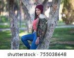 happy girl having fun in the... | Shutterstock . vector #755038648