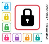 lock icon. colorful set... | Shutterstock .eps vector #755039020