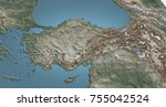 turkey geographical map with... | Shutterstock . vector #755042524