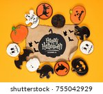 top view of frame of halloween... | Shutterstock . vector #755042929