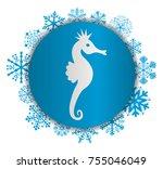 seahorse christmas icon | Shutterstock .eps vector #755046049