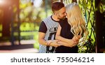 happy couple face to face and... | Shutterstock . vector #755046214