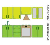 kitchen furniture. simple... | Shutterstock .eps vector #755046499