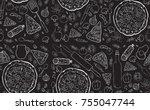 pizza seamless pattern.  | Shutterstock .eps vector #755047744