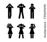 stick figure set of three wise... | Shutterstock .eps vector #755049490