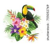 tropical summer arrangement... | Shutterstock .eps vector #755052769