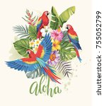 tropical summer arrangement... | Shutterstock .eps vector #755052799