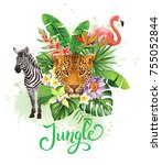 tropical summer arrangement... | Shutterstock .eps vector #755052844