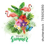tropical summer arrangement... | Shutterstock .eps vector #755052850