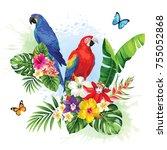 tropical summer arrangement... | Shutterstock .eps vector #755052868