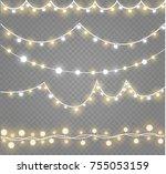 christmas lights isolated on... | Shutterstock .eps vector #755053159