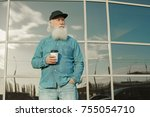handsome bearded old man in...   Shutterstock . vector #755054710