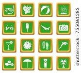 summer rest icons set in green...   Shutterstock . vector #755061283