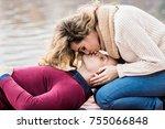 she loves to kiss his lips.... | Shutterstock . vector #755066848