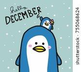 hello december cute couple...   Shutterstock .eps vector #755068624