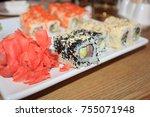 rolls  japanese food | Shutterstock . vector #755071948