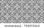 ornament with elements of black ... | Shutterstock . vector #755073313