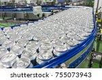 conveyor line carrying... | Shutterstock . vector #755073943