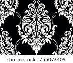 vector damask seamless pattern...   Shutterstock .eps vector #755076409
