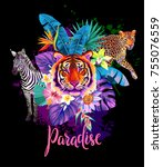 tropical summer arrangement...   Shutterstock .eps vector #755076559