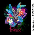 tropical summer arrangement... | Shutterstock .eps vector #755076580