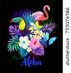 tropical summer arrangement... | Shutterstock .eps vector #755076586