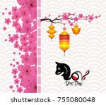 chinese new year 2018 blossom.... | Shutterstock . vector #755080048