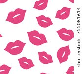 seamless pattern with pink... | Shutterstock .eps vector #755081614