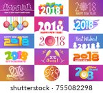 2018 happy new year christmass... | Shutterstock .eps vector #755082298