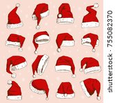 christmas santa claus hat... | Shutterstock .eps vector #755082370