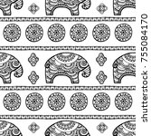 tribal vector seamless pattern... | Shutterstock .eps vector #755084170