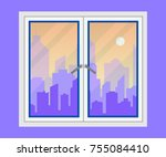 window and city view. evening... | Shutterstock .eps vector #755084410
