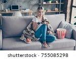 typical woman weakness ... | Shutterstock . vector #755085298