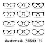 a set of glasses isolated.... | Shutterstock .eps vector #755086474