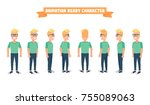 flat guy character set.... | Shutterstock .eps vector #755089063