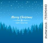 vector winter night starry sky  ... | Shutterstock .eps vector #755090443