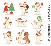 christmas dog vector cute... | Shutterstock .eps vector #755091580