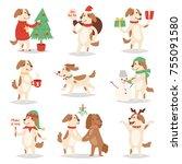 christmas dog vector cute... | Shutterstock .eps vector #755091580