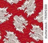 japanese style dragon pattern ... | Shutterstock .eps vector #755092300