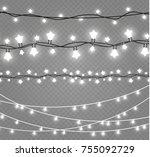 christmas lights isolated on... | Shutterstock .eps vector #755092729