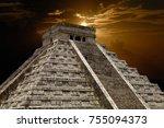 ancient mayan pyramid  kukulcan ... | Shutterstock . vector #755094373
