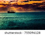 a lone ship against the morning ... | Shutterstock . vector #755096128