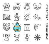 vector black line christmas and ...   Shutterstock .eps vector #755101210