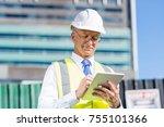 senior engineer man in suit and ... | Shutterstock . vector #755101366