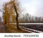 fields covered with snow rainy... | Shutterstock . vector #755104930