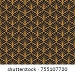 vector floral art nouveau... | Shutterstock .eps vector #755107720