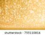 shiny golden bokeh glitter... | Shutterstock . vector #755110816