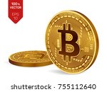 bitcoin. 3d isometric physical... | Shutterstock .eps vector #755112640