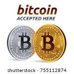 bitcoin accepted sign emblem.... | Shutterstock .eps vector #755112874