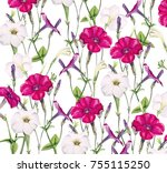 watercolor pattern with summer... | Shutterstock . vector #755115250